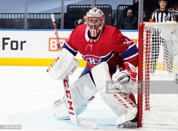 Goaltender Carey Price of the Montreal Canadiens defends the net while playing against the Philadelphia Flyers during the second period of Game Six...
