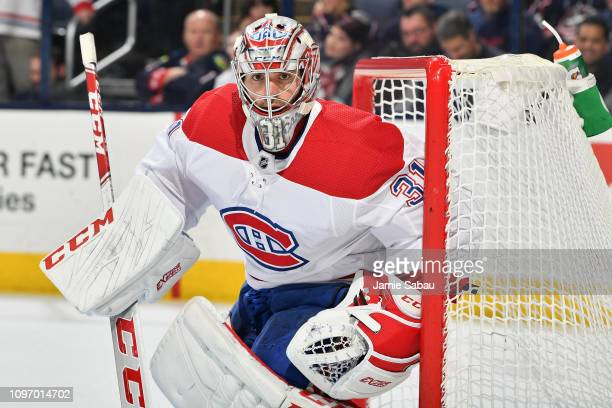 Goaltender Carey Price of the Montreal Canadiens defends the net against the Columbus Blue Jackets on January 18 2019 at Nationwide Arena in Columbus...