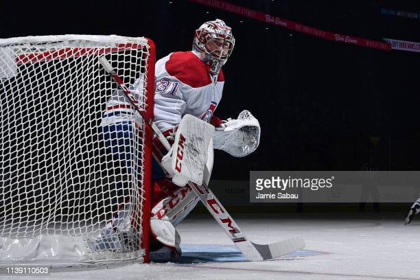 Goaltender Carey Price of the Montreal Canadiens defends the net against the Columbus Blue Jackets on March 28 2019 at Nationwide Arena in Columbus...