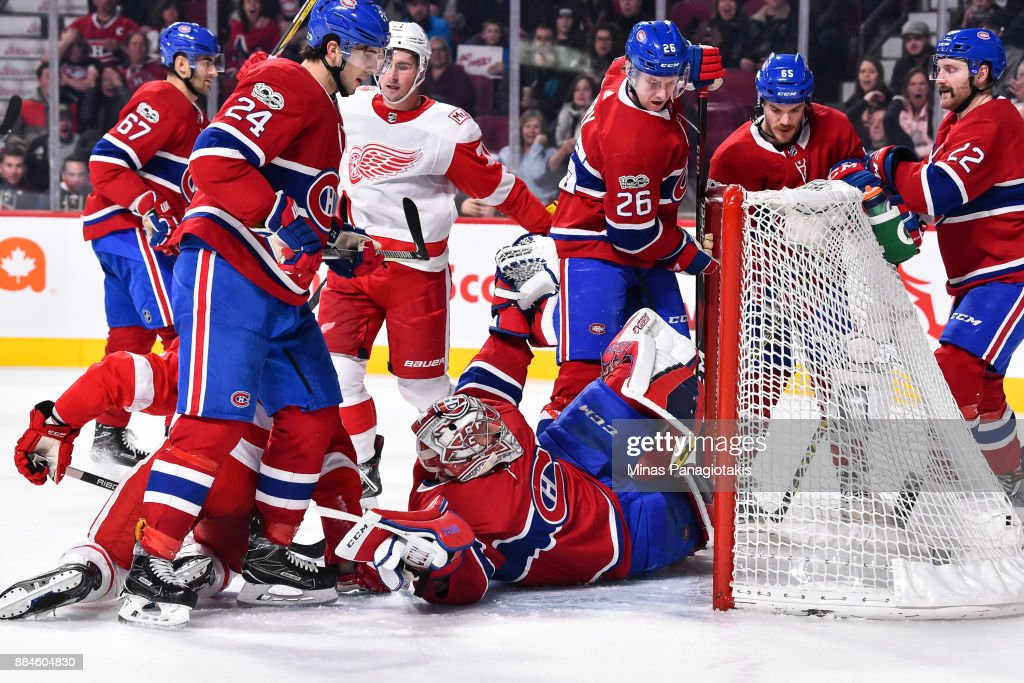 Goaltender Carey Price #31 of the Montreal Canadiens falls to the ice as he allows a goal in the third period against the Detroit Red Wings during the NHL game at the Bell Centre on December 2, 2017 in Montreal, Quebec, Canada. The Montreal Canadiens defeated the Detroit Red Wings 10-1.