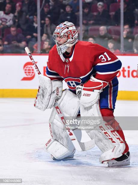 Goaltender Carey Price of the Montreal Canadiens looks on against the Minnesota Wild during the NHL game at the Bell Centre on January 7 2019 in...