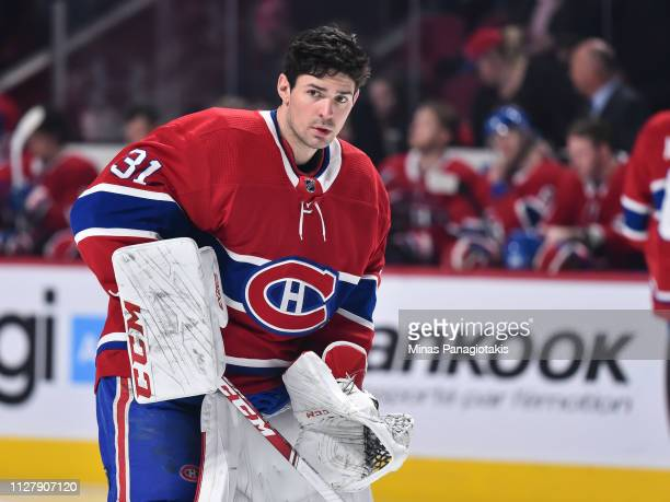 Goaltender Carey Price of the Montreal Canadiens looks on against the Edmonton Oilers during the NHL game at the Bell Centre on February 3 2019 in...