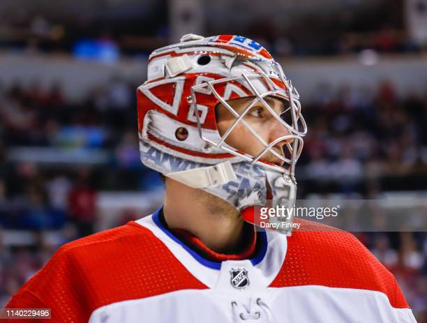 Goaltender Carey Price of the Montreal Canadiens looks on during a second period stoppage in play against the Winnipeg Jets at the Bell MTS Place on...