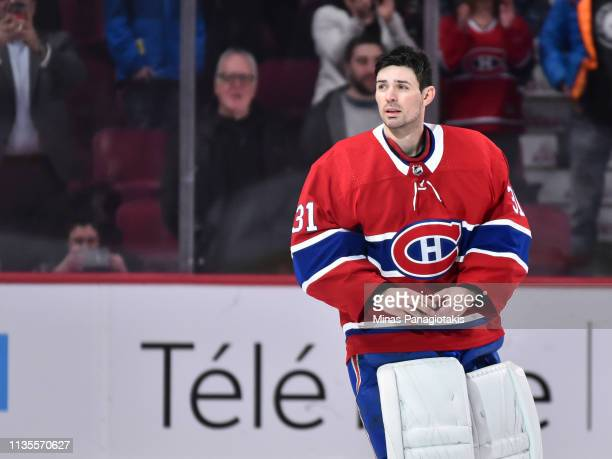 Goaltender Carey Price of the Montreal Canadiens looks towards the fans after setting a franchise record with 315 victories surpassing Jacques Plante...