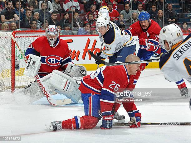 Goaltender Carey Price of the Montreal Canadiens makes a save against the Buffalo Sabres during the NHL game on November 27 2010 at the Bell Centre...