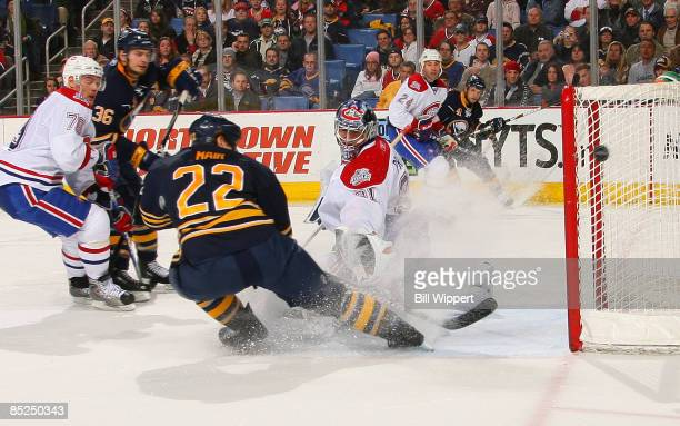 Goaltender Carey Price of the Montreal Canadiens makes a save on Adam Mair of the Buffalo Sabres on March 4, 2009 at HSBC Arena in Buffalo, New York.