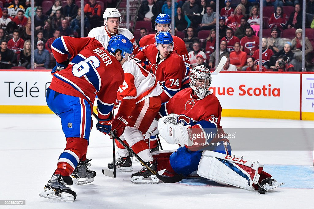 Goaltender Carey Price #31 of the Montreal Canadiens makes a skate save during the NHL game against the Detroit Red Wings at the Bell Centre on November 12, 2016 in Montreal, Quebec, Canada. The Montreal Canadiens defeated the Detroit Red Wings 5-0.