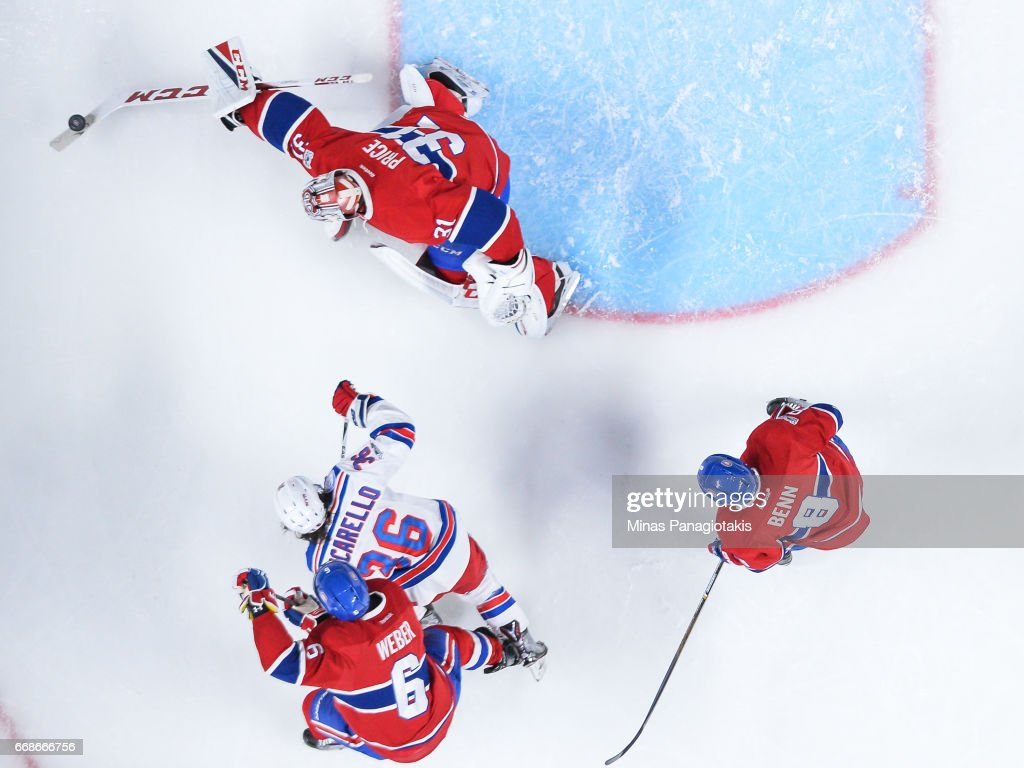 Goaltender Carey Price #31 of the Montreal Canadiens makes a stick save against the New York Rangers in Game Two of the Eastern Conference First Round during the 2017 NHL Stanley Cup Playoffs at the Bell Centre on April 14, 2017 in Montreal, Quebec, Canada. The Montreal Canadiens defeated the New York Rangers 4-3 in overtime.