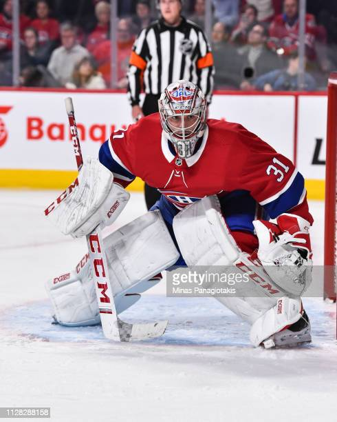 Goaltender Carey Price of the Montreal Canadiens protects his net against the Winnipeg Jets during the NHL game at the Bell Centre on February 7 2019...