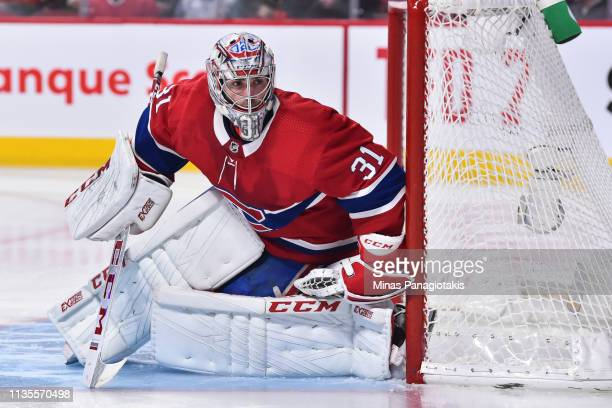 Goaltender Carey Price of the Montreal Canadiens protects his net against the Detroit Red Wings during the NHL game at the Bell Centre on March 12...