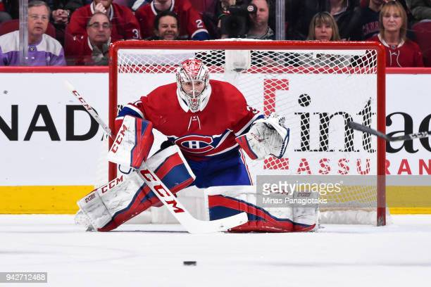 Goaltender Carey Price of the Montreal Canadiens protects his net against the Winnipeg Jets during the NHL game at the Bell Centre on April 3 2018 in...