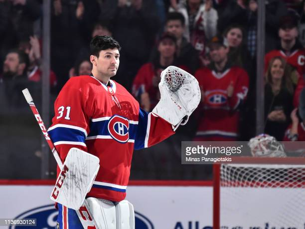 Goaltender Carey Price of the Montreal Canadiens reacts as he receives a standing ovation for setting a franchise record with 315 victories as a...