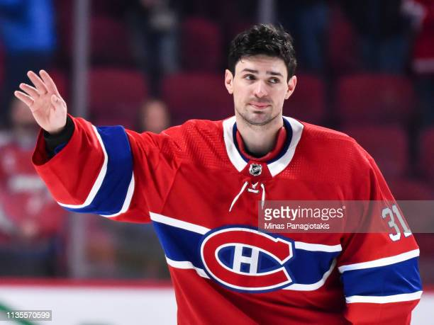 Goaltender Carey Price of the Montreal Canadiens salutes the fans after setting a franchise record with 315 victories surpassing Jacques Plante...