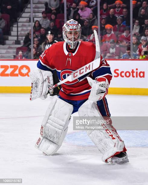Goaltender Carey Price of the Montreal Canadiens skates against the Colorado Avalanche during the NHL game at the Bell Centre on January 12 2019 in...