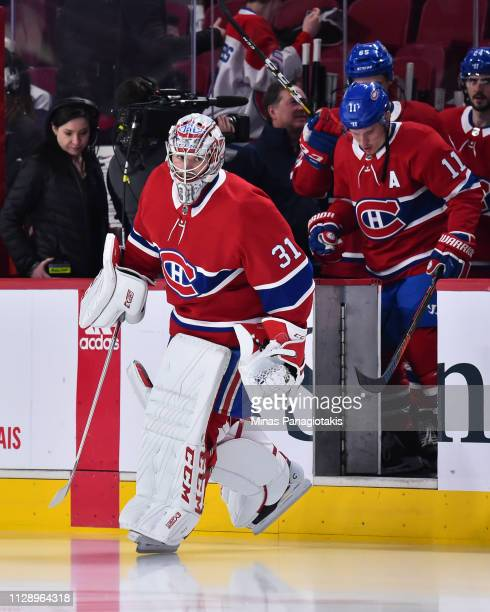 Goaltender Carey Price of the Montreal Canadiens takes to the ice during the warmup prior to the NHL game against the Toronto Maple Leafs at the Bell...