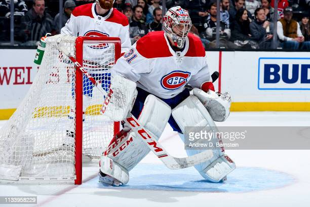Goaltender Carey Price of the Montreal Canadiens tends net during the third period of the game against the Los Angeles Kings at STAPLES Center on...