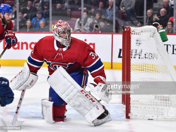 Goaltender Carey Price of the Montreal Canadiens watches the puck as it enters his net during the third period against the Vancouver Canucks at the...