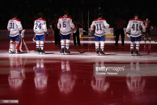 Goaltender Carey Price Phillip Danault Shea Weber Brendan Gallagher and Paul Byron of the Montreal Canadiens stand attended for the Canadian national...