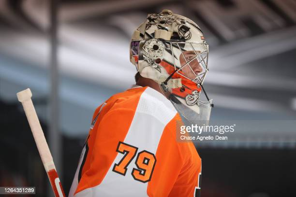 Goaltender Carter Hart of the Philadelphia Flyers warms up before a Round Robin game against the Washington Capitals during the 2020 NHL Stanley Cup...