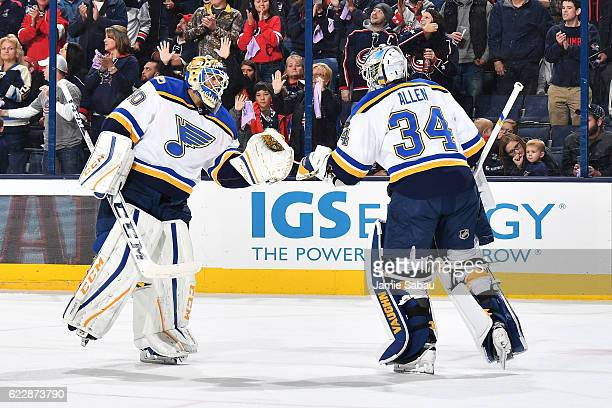 Goaltender Carter Hutton of the St Louis Blues replaces goaltender Jake Allen of the St Louis Blues during the first period of a game against the...