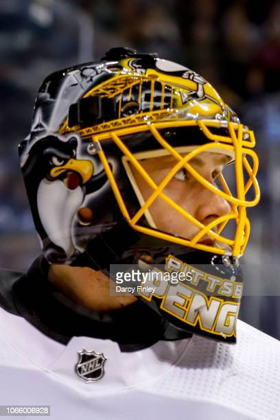 Goaltender Casey DeSmith of the Pittsburgh Penguins looks on during a second period stoppage in play against the Winnipeg Jets at the Bell MTS Place...