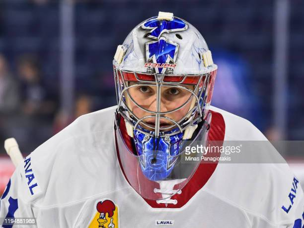 Goaltender Cayden Primeau of the Laval Rocket looks on during the warmup against the Rockford IceHogs at Place Bell on December 17 2019 in Laval...