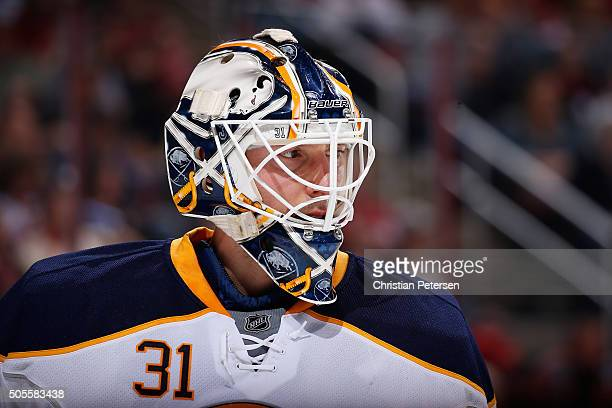 Goaltender Chad Johnson of the Buffalo Sabres during the first period of the NHL game against the Arizona Coyotes at Gila River Arena on January 18...