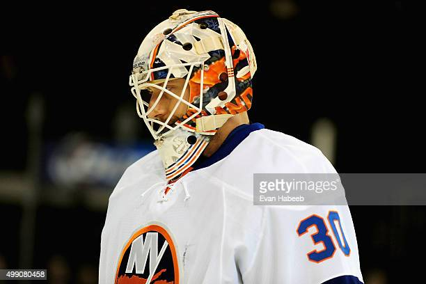 Goaltender Chad Johnson of the New York Islanders warms up before the game against the New York Rangers at Madison Square Garden on October 14 2014...