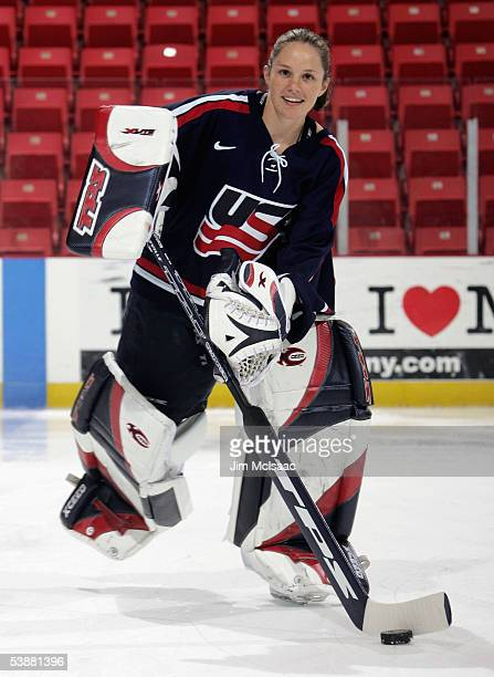 Goaltender Chanda Gunn skates during a photo session at the USA Hockey National Women's Festival on August 26, 2005 at the Olympic Center in Lake...
