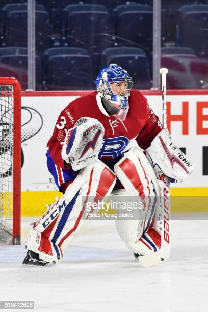 Goaltender Charlie Lindgren of the Laval Rocket gets into position during the warmup against the Belleville Senators prior to the AHL game at Place...