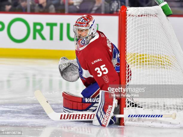 Goaltender Charlie Lindgren of the Laval Rocket protects his net against the Utica Comets during the AHL game at Place Bell on March 9 2019 in Laval...