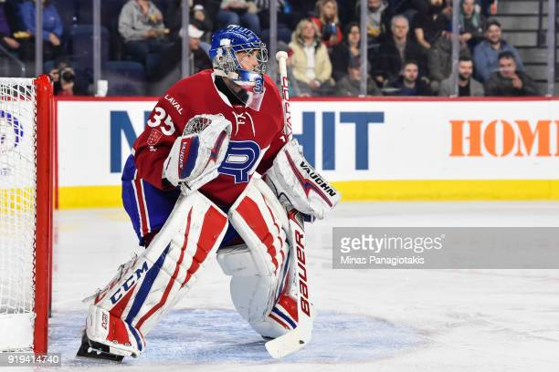 Goaltender Charlie Lindgren of the Laval Rocket protects his net against the Belleville Senators during the AHL game at Place Bell on February 14...
