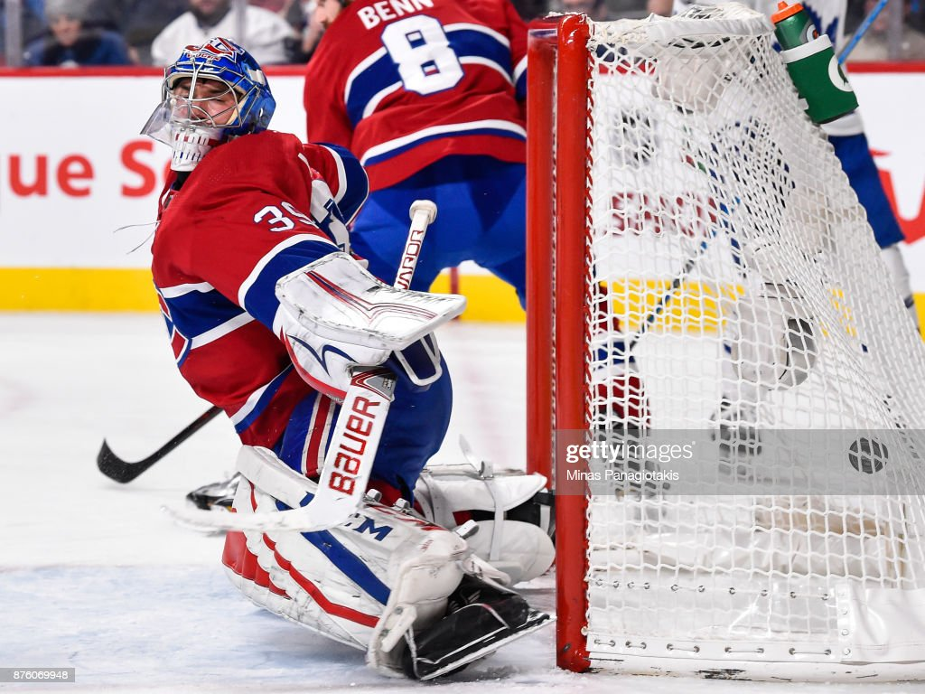 Goaltender Charlie Lindgren #39 of the Montreal Canadiens allows a goal in the third period against the Toronto Maple Leafs during the NHL game at the Bell Centre on November 18, 2017 in Montreal, Quebec, Canada. The Toronto Maple Leafs defeated the Montreal Canadiens 6-0.
