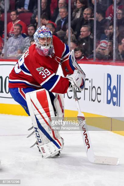 Goaltender Charlie Lindgren of the Montreal Canadiens comes out of his net against the Vegas Golden Knights during the NHL game at the Bell Centre on...