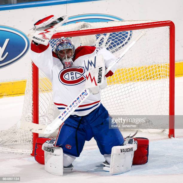 Goaltender Charlie Lindgren of the Montreal Canadiens defends the net against the Florida Panthers at the BBT Center on April 3 2017 in Sunrise...
