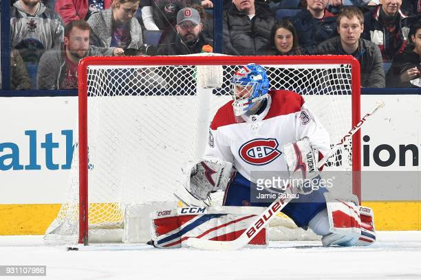 Goaltender Charlie Lindgren of the Montreal Canadiens defends the net during the second period of a game against the Columbus Blue Jackets on March...