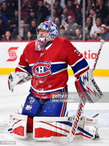 Goaltender Charlie Lindgren of the Montreal Canadiens gets down to protect his net against the Vegas Golden Knights during the NHL game at the Bell...