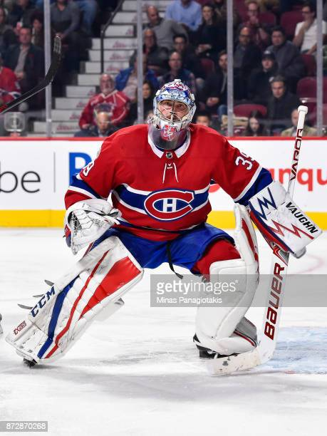Goaltender Charlie Lindgren of the Montreal Canadiens gets into position against the Vegas Golden Knights during the NHL game at the Bell Centre on...