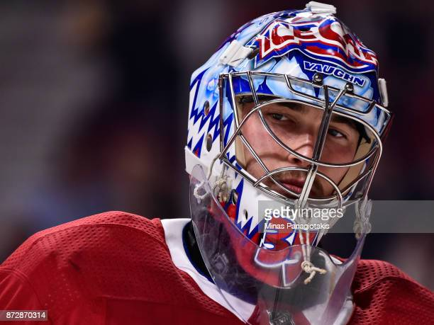 Goaltender Charlie Lindgren of the Montreal Canadiens looks on against the Vegas Golden Knights during the NHL game at the Bell Centre on November 7...