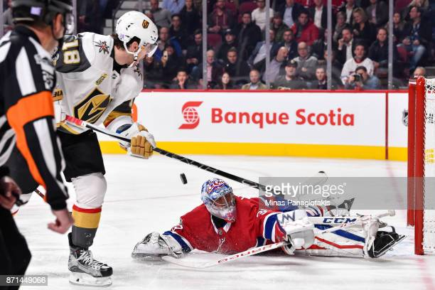 Goaltender Charlie Lindgren of the Montreal Canadiens makes a save on James Neal of the Vegas Golden Knights during the NHL game at the Bell Centre...