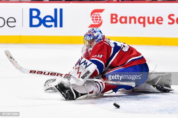 Goaltender Charlie Lindgren of the Montreal Canadiens makes a save late in the third period against the Vegas Golden Knights during the NHL game at...