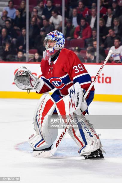 Goaltender Charlie Lindgren of the Montreal Canadiens protects his net against the Vegas Golden Knights during the NHL game at the Bell Centre on...