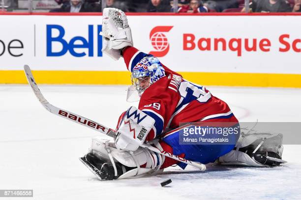 Goaltender Charlie Lindgren of the Montreal Canadiens saves the puck late in the third period against the Vegas Golden Knights during the NHL game at...