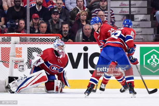 Goaltender Charlie Lindgren of the Montreal Canadiens watches the puck fly above him against the Vegas Golden Knights during the NHL game at the Bell...