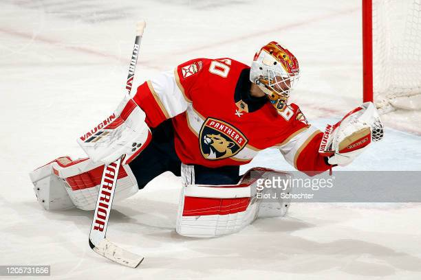Goaltender Chris Driedger of the Florida Panthers makes a glove save against the Montreal Canadiens at the BB&T Center on March 7, 2020 in Sunrise,...