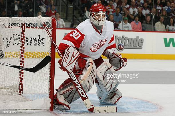 Goaltender Chris Osgood of the Detroit Red Wings stands ready against the Colorado Avalanche during game three of the Western Conference Semifinals...