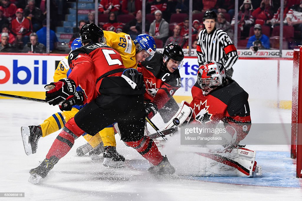 Goaltender Connor Ingram #1 of Team Canada makes a save during the 2017 IIHF World Junior Championship semifinal game against Team Sweden at the Bell Centre on January 4, 2017 in Montreal, Quebec, Canada.