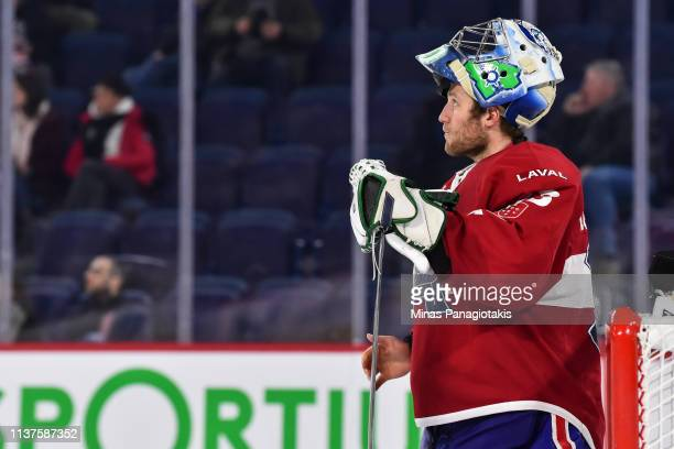Goaltender Connor LaCouvee of the Laval Rocket looks on against the Providence Bruins during the AHL game at Place Bell on March 20 2019 in Laval...