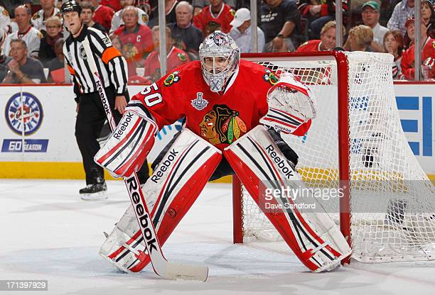 Goaltender Corey Crawford of the Chicago Blackhawks defends the net while playing the Boston Bruins in Game Five of the 2013 Stanley Cup Final at the...