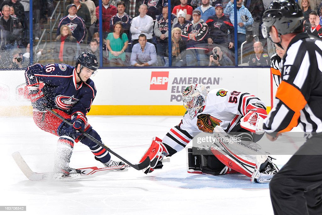 Goaltender Corey Crawford #50 of the Chicago Blackhawks makes the final shootout save against Derick Brassard #16 of the Columbus Blue Jackets on March 14, 2013 at Nationwide Arena in Columbus, Ohio. Chicago defeated Columbus 2-1 in a shootout.
